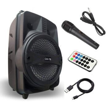 CAJA AMPLIFICADA 8″ RECARGABLE USB/FM/BT + MIC + CONTROL-4
