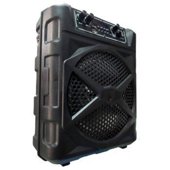 CAJA AMPLIFICADA 8″ RECARGABLE USB/FM/BT + CORREA