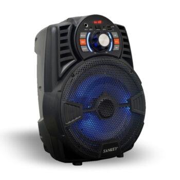 CAJA AMPLIFICADA 8″ RECARGABLE USB/FM/BT + MICRÓFONO – SANKEY-4